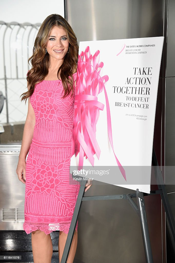 Elizabeth Hurley and The Estée Lauder Companies light the Empire State Building pink to launch The Estée Lauder Companies' 2016 Breast Cancer Awareness Campaign on September 30, 2016 in New York City.