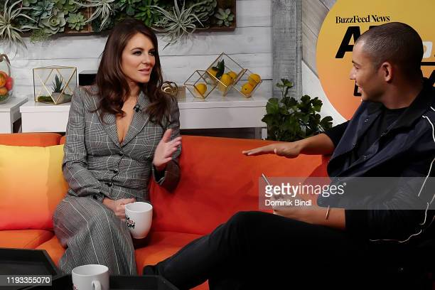 "Elizabeth Hurley and Zach Stafford attend BuzzFeed's ""AM To DM"" on December 11, 2019 in New York City."