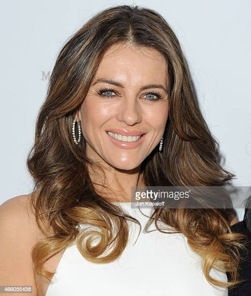 Elizabeth Hurley arrives at Cover Girl Elizabeth Hurley & Genlux Magazine Hosts Issue Release Party at Eve by Eves on March 12, 2015 in Beverly...