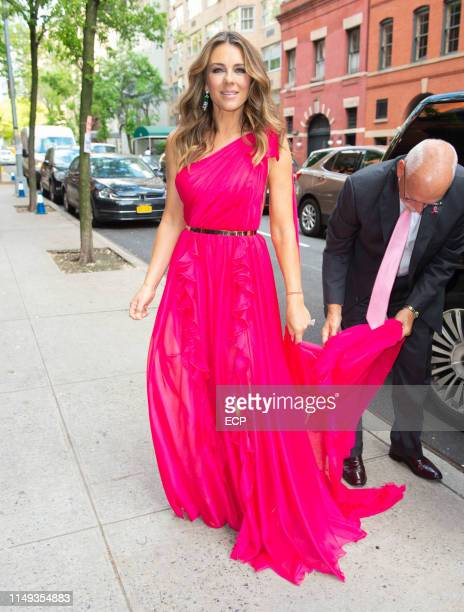 Elizabeth Hurley arrives at the Hot Pink Party on May 15, 2019 in New York City.