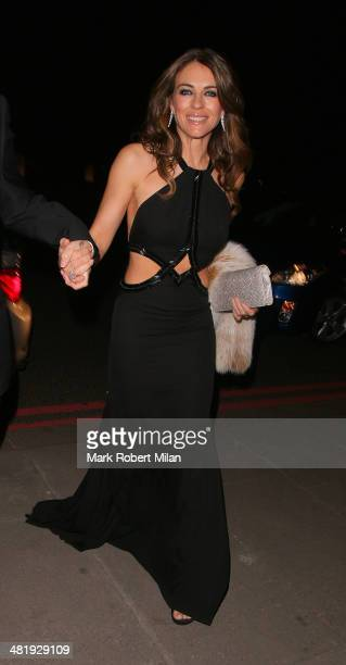 Elizabeth Hurley attending The Glamour of Italian Fashion 19452014 private dinner at the Victoria Albert Museum on April 1 2014 in London England