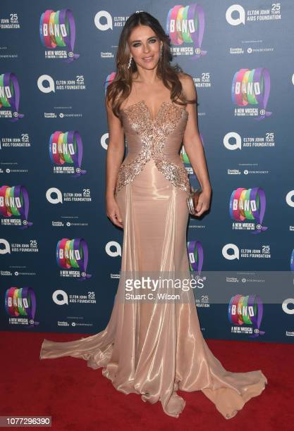 Elizabeth Hurley attends a charity gala performance of The Band in aid of the Elton John AIDS Foundation at Theatre Royal Haymarket on December 04...