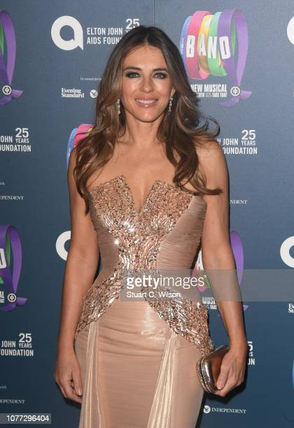 "Elizabeth Hurley attends a charity gala performance of ""The Band"" in aid of the Elton John AIDS Foundation at Theatre Royal Haymarket on December 04,..."