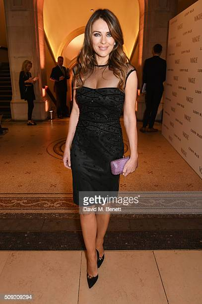 Elizabeth Hurley attends a private view of 'Vogue 100 A Century of Style' hosted by Alexandra Shulman and Leon Max at the National Portrait Gallery...