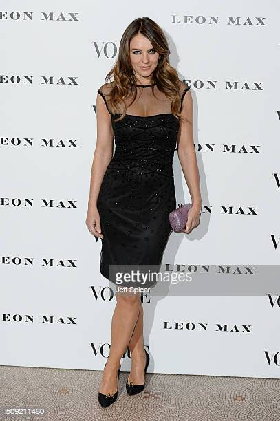 Elizabeth Hurley attends at Vogue 100: A Century Of Style at the National Portrait Gallery on February 9, 2016 in London, England.