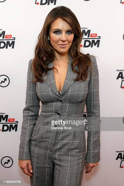 "Elizabeth Hurley attends BuzzFeed's ""AM To DM"" on December 11, 2019 in New York City."