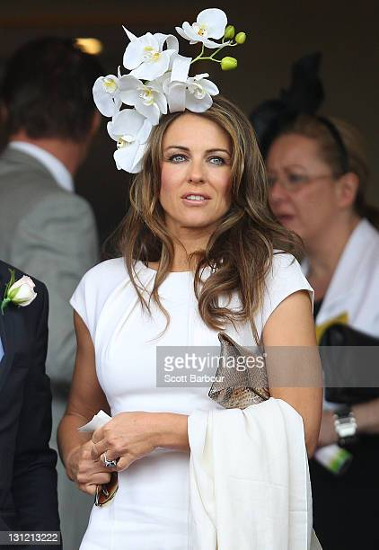 Elizabeth Hurley attends Crown Oaks Day at Flemington Racecourse on November 3 2011 in Melbourne Australia