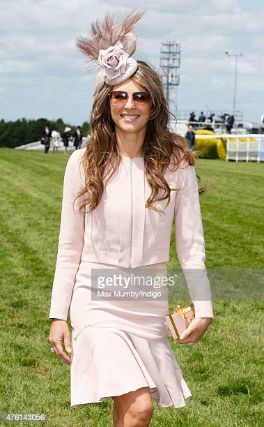 Elizabeth Hurley attends Derby Day during the Investec Derby Festival at Epsom Racecourse on June 6 2015 in Epsom England