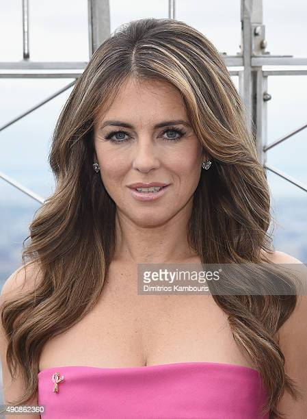 Elizabeth Hurley attends Elizabeth Hurley and William P Lauder Light The Empire State Building Pink at The Empire State Building on October 1 2015 in...