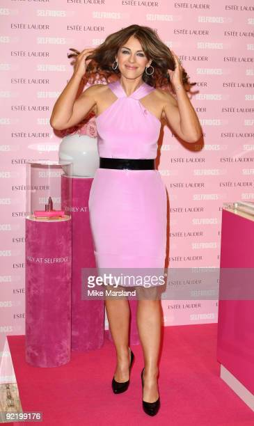 Elizabeth Hurley attends photocall to launch Estee Lauder's Pink Ribbon collection for the Breast Cancer Research Foundation at Selfridges on October...