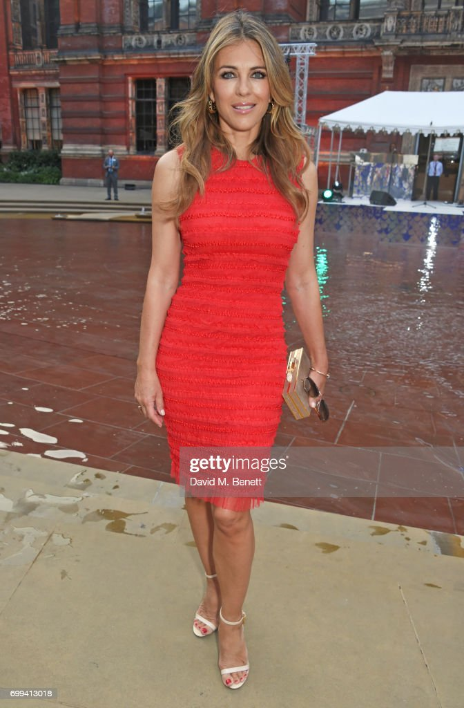 Elizabeth Hurley attends the 2017 annual V&A Summer Party in partnership with Harrods at the Victoria and Albert Museum on June 21, 2017 in London, England.