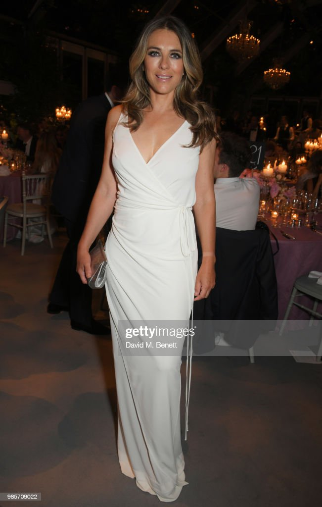 Elizabeth Hurley attends the Argento Ball for the Elton John AIDS Foundation in association with BVLGARI & Bob and Tamar Manoukian on June 27, 2018 in Windsor, England.