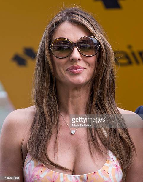 Elizabeth Hurley attends the Betfair weekend featuring The King George VI and Queen Elizabeth Stakes at Ascot Racecourse on July 27 2013 in Ascot...