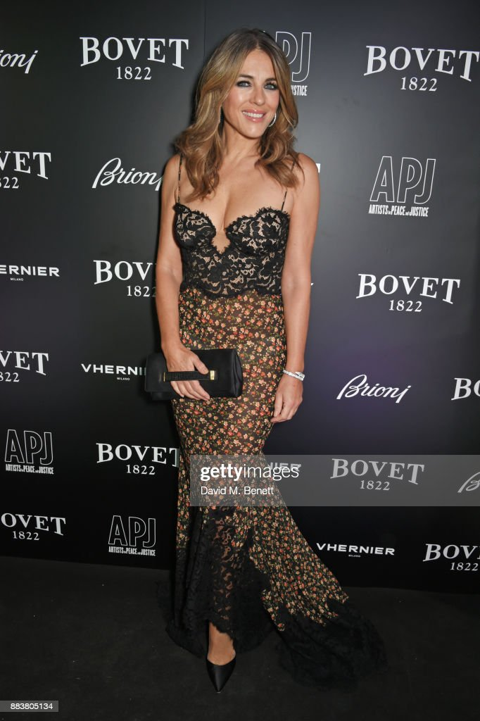 Elizabeth Hurley attends the BOVET 1822 Brilliant is Beautiful Gala benefitting Artists for Peace and Justice's Global Education Fund for Women and Girls at Claridge's Hotel on December 1, 2017 in London, England. To learn more visit www.apjnow.org or follow @Artistsforpeace on Instagram and Twitter.