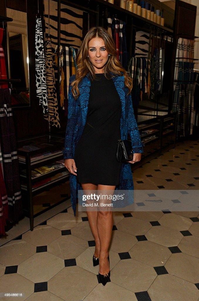 Elizabeth Hurley attends the Burberry Festive film premiere at 121 Regent Street on November 3, 2015 in London, England.
