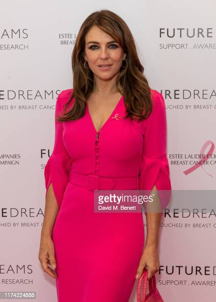 Elizabeth Hurley attends the Future Dreams Ladies Lunch 2019 supported by Estee Lauder at The Savoy Hotel on October 7, 2019 in London, England.