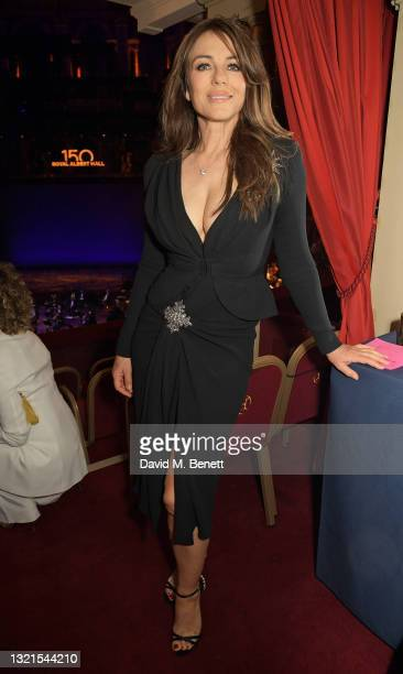 Elizabeth Hurley attends the inaugural British Ballet Charity Gala presented by Dame Darcey Bussell at The Royal Albert Hall on June 03, 2021 in...