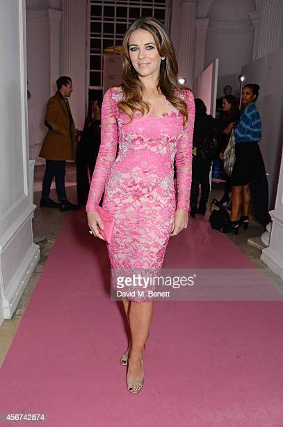 Elizabeth Hurley attends the launch of The Estee Lauder Companies' UK Breast Cancer Awareness Campaign 2014 'Hear Our Stories Share Yours' at...