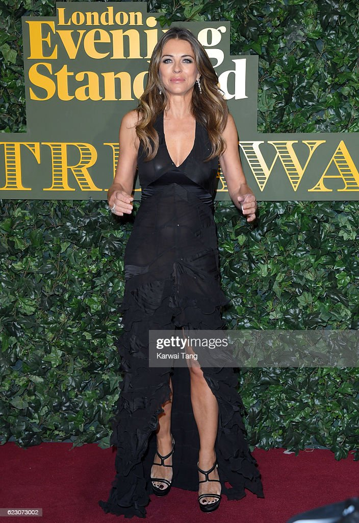 Elizabeth Hurley attends The London Evening Standard Theatre Awards at The Old Vic Theatre on November 13, 2016 in London, England.
