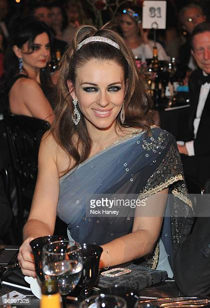 Elizabeth Hurley attends the Love Ball London hosted by Natalia Vodianova and Harper's Bazaar as part of London Fashion Week Autumn/Winter 2010 in...