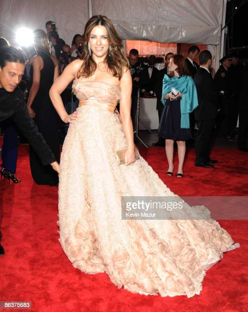 """Elizabeth Hurley attends """"The Model as Muse: Embodying Fashion"""" Costume Institute Gala at The Metropolitan Museum of Art on May 4, 2009 in New York..."""