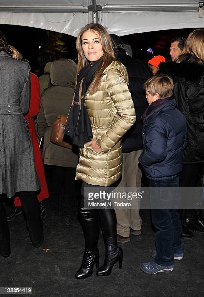 Elizabeth Hurley attends the Moncler Grenoble Fall 2012 fashion show during Mercedes-Benz Fashion Week at the Wollman Rink Central Park on February...