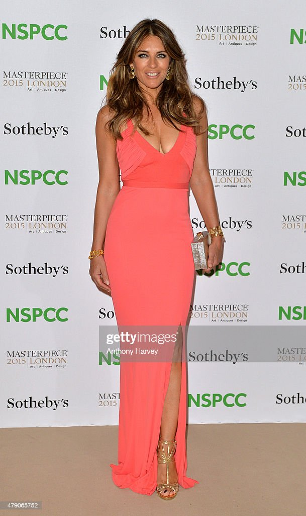Elizabeth Hurley attends the NSPCC Neo-Romantic Art Gala at Masterpiece London on June 30, 2015 in London, England.