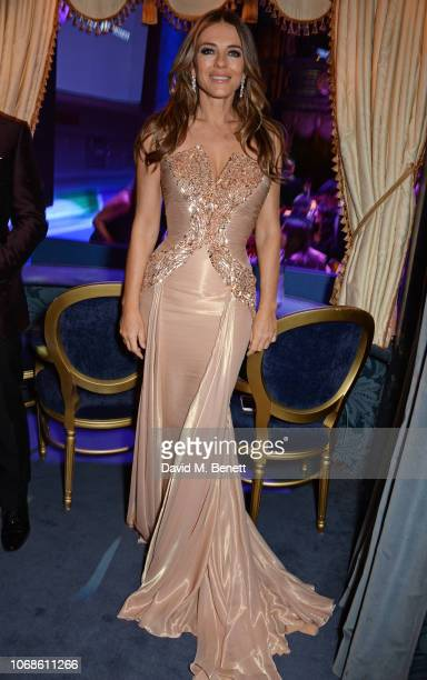 "Elizabeth Hurley attends the Opening Night Gala of ""The Band"" to benefit the Elton John AIDS Foundation supported by The Evening Standard at Theatre..."
