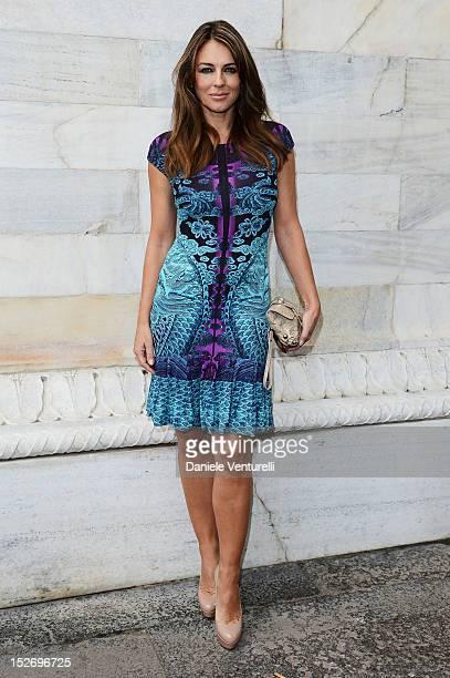 Elizabeth Hurley attends the Roberto Cavalli Spring/Summer 2013 fashion show as part of Milan Womenswear Fashion Week on September 24 2012 in Milan...