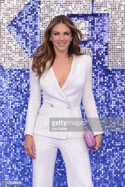 "Elizabeth Hurley attends the ""Rocketman"" UK Premiere at Odeon Leicester Square on May 20, 2019 in London, United Kingdom."