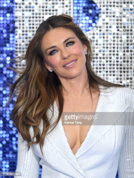 "Elizabeth Hurley attends the ""Rocketman"" UK premiere at Odeon Luxe Leicester Square on May 20, 2019 in London, England."