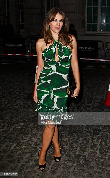 Elizabeth Hurley attends the UK Film Premiere of A Single Man at the Curzon Mayfair on 1st February 2009 in London, England.