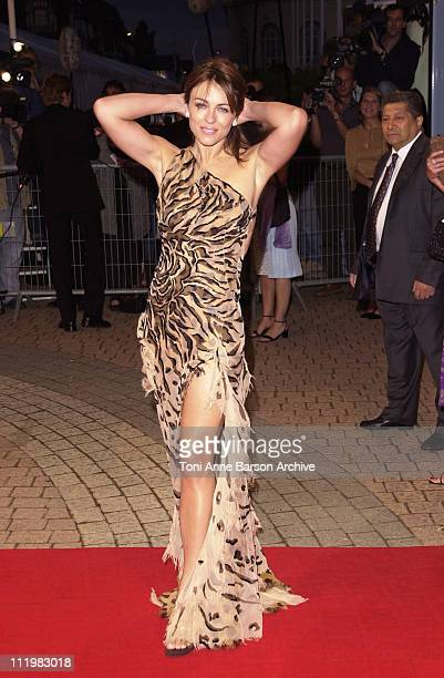 Elizabeth Hurley during Deauville 2001 Double Whammy Premiere at Centre International de Deauville CID in Deauville France