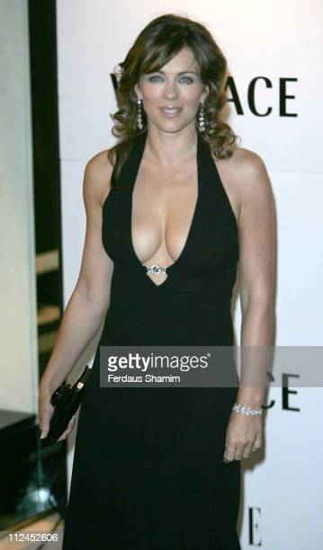 Elizabeth Hurley during Elle Magazine 21st Birthday Outside Arrivals at Versace Store in London Great Britain
