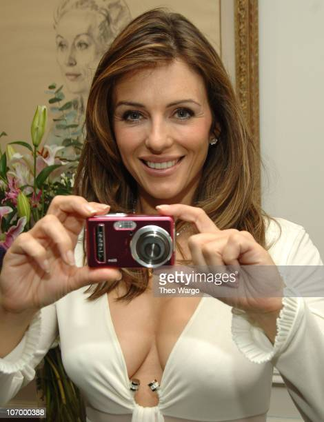 Elizabeth Hurley during Polaroid presents Elizabeth Hurley with Check for the Breast Cancer Research Foundation at General Motors Plaza in New York...