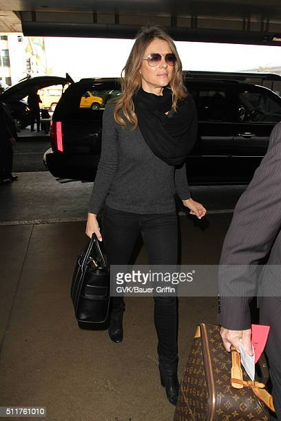 Elizabeth Hurley is seen at LAX on February 22 2016 in Los Angeles California