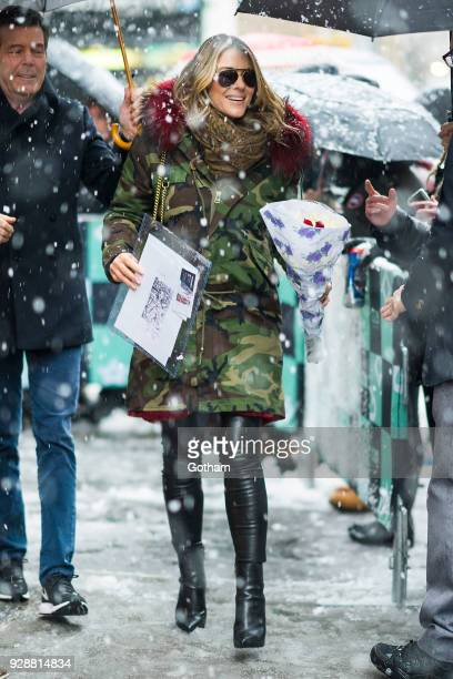 Elizabeth Hurley is seen in NoHo on March 7 2018 in New York City