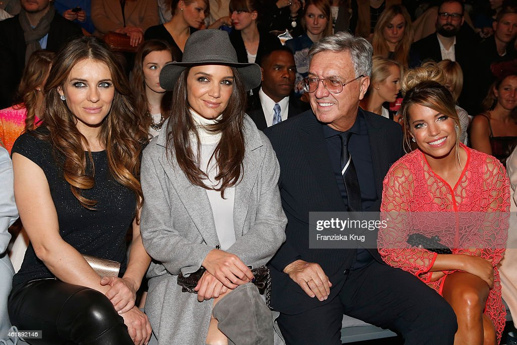 Elizabeth Hurley, Katie Holmes, Helmut Schlotterer and Sylvie Meis attend the Marc Cain show during the Mercedes-Benz Fashion Week Berlin Autumn/Winter 2015/16 at Brandenburg Gate on January 20, 2015 in Berlin, Germany.