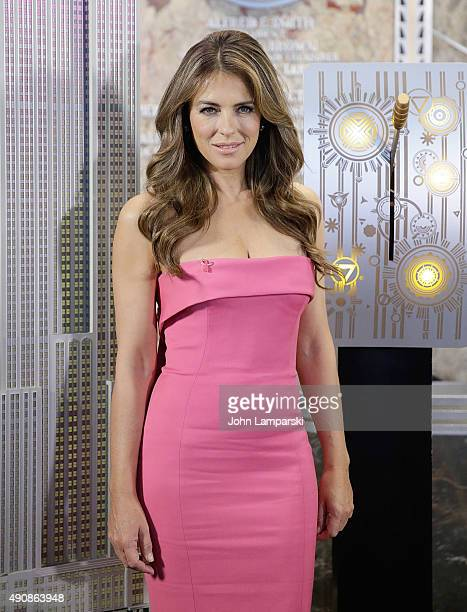 Elizabeth Hurley lights the Empire State Building Pink at The Empire State Building on October 1 2015 in New York City