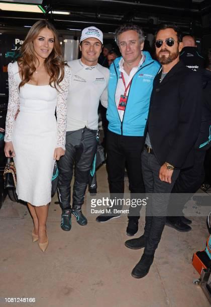 Elizabeth Hurley Nelson Piquet Jr Formula E CEO Alejandro Agag and Justin Theroux attend the ABB FIA Formula E 2019 Marrakesh EPrix on January 12...