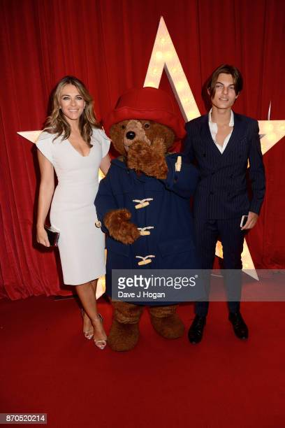 Elizabeth Hurley Paddington Bear and Damian Hurley attend the 'Paddington 2' premiere at Odeon Leicester Square on November 5 2017 in London England