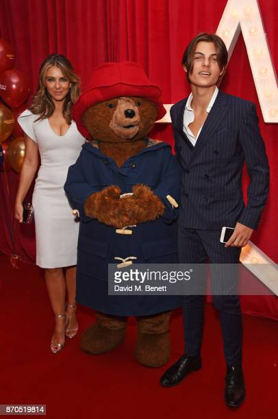 Elizabeth Hurley Paddington Bear and Damian Hurley attend the World Premiere of 'Paddington 2' at Odeon Leicester Square on November 5 2017 in London...