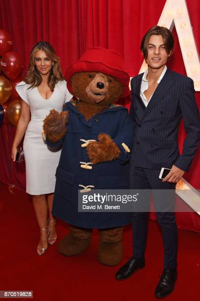 Elizabeth Hurley Paddington Bear and Damian Hurley attend the World Premiere of Paddington 2 at Odeon Leicester Square on November 5 2017 in London...