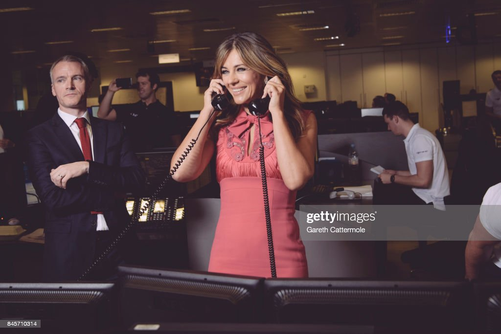 Elizabeth Hurley, representing Walking With The Wounded/Wounded Veterans Fund, makes a trade with BGC traders on September 11, 2017 in Canary Wharf, London, United Kingdom.