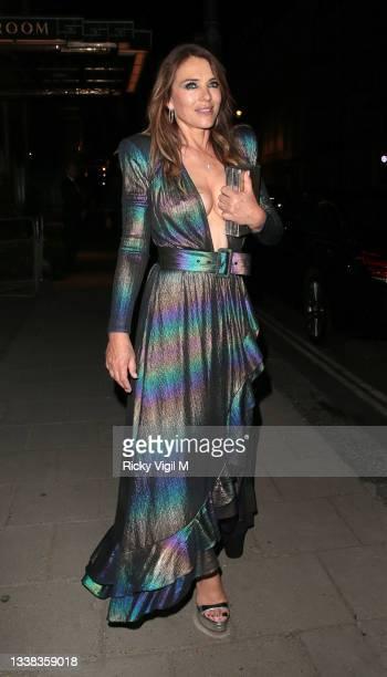 Elizabeth Hurley seen attending David Walliams 50th Birthday party at Claridge's hotel in Mayfair on September 04, 2021 in London, England.