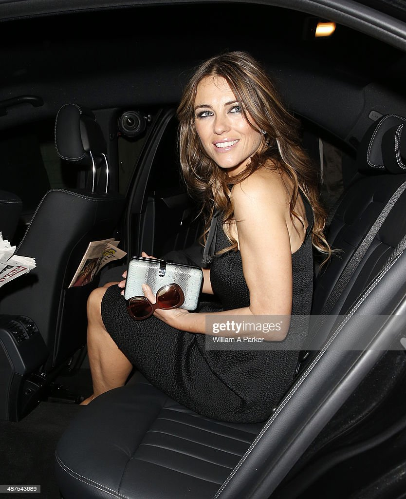 Elizabeth Hurley seen leaving Chirstie's Conservation Lectures 2014 on April 30, 2014 in London, England.