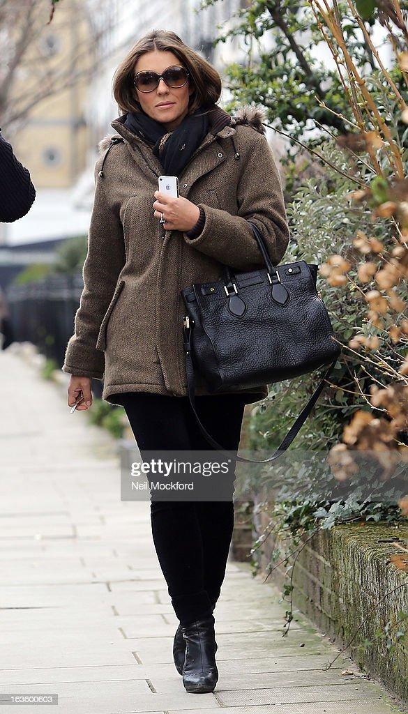 Elizabeth Hurley seen walking near her Fulham home on March 13, 2013 in London, England.