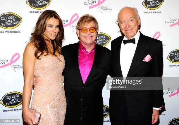 Elizabeth Hurley Sir Elton John and Leonard Lauder attend the Breast Cancer Foundation's Hot Pink Party at Waldorf Astoria Hotel on April 30 2012 in...