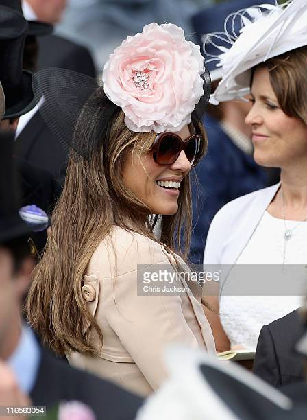 Elizabeth Hurley smiles in the parade ring on Ladies Day at Royal Ascot at Ascot Racecourse on June 14 2011 in Ascot United Kingdom