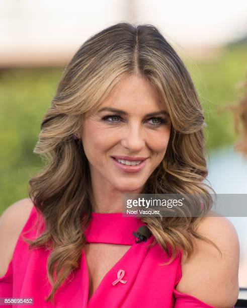 Elizabeth Hurley visits 'Extra' at Universal Studios Hollywood on October 5 2017 in Universal City California